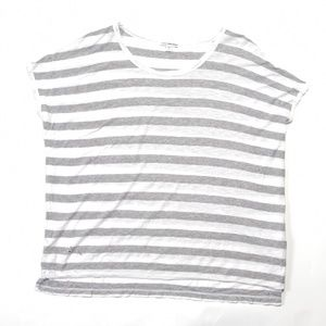 James Perse oversize Gray and White Striped T